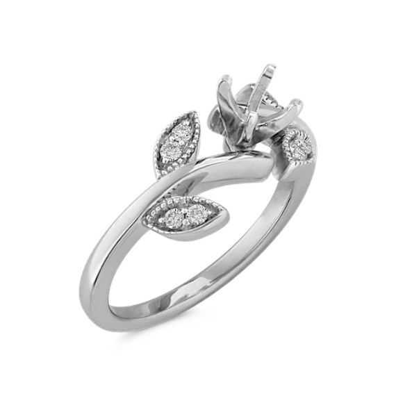 Round Diamond Ring in 14k White Gold