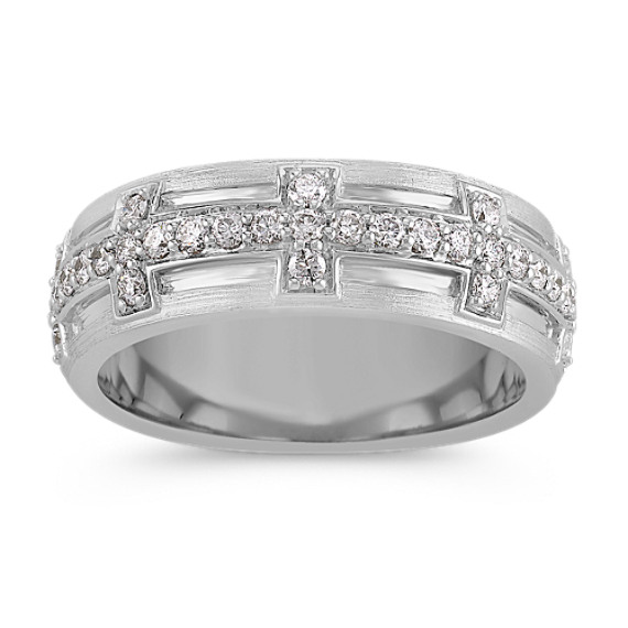 Round Diamond Ring in 14k White Gold (8mm)