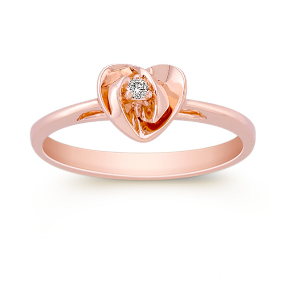 Round Diamond Ring in Rose Gold