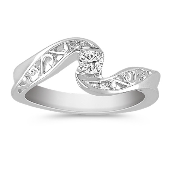 Round Diamond Ring in Sterling Silver
