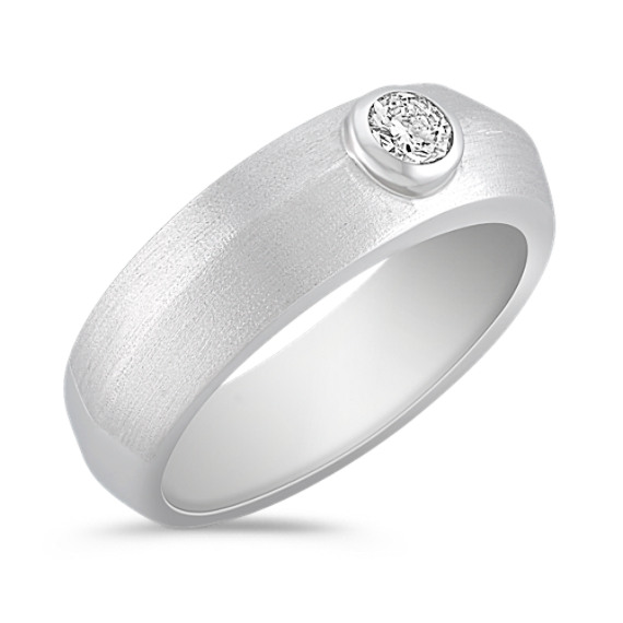 Round Diamond Ring with Bezel Setting and Satin Finish
