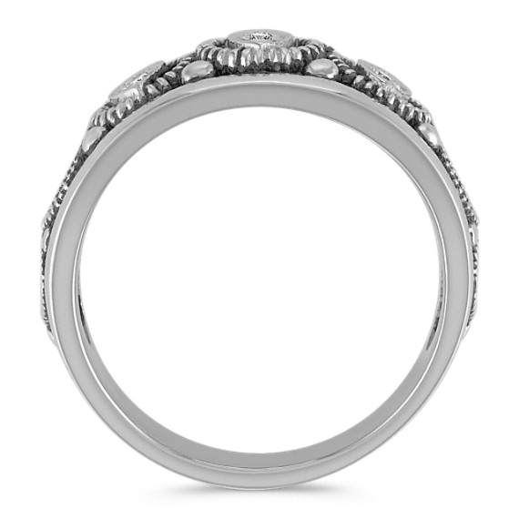 Round Diamond Ring with Black Rhodium Accents