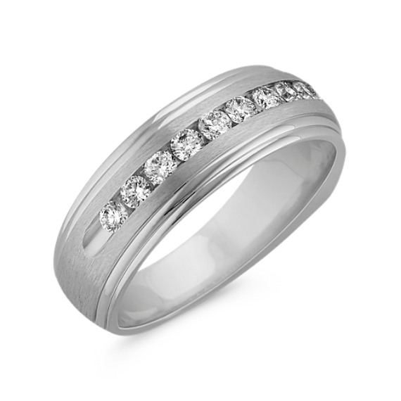 Round Diamond Ring with Channel Setting and Satin Finish (7mm)