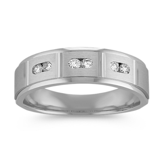 Round Diamond Ring with Channel-Setting and Satin Finish (6.5mm)