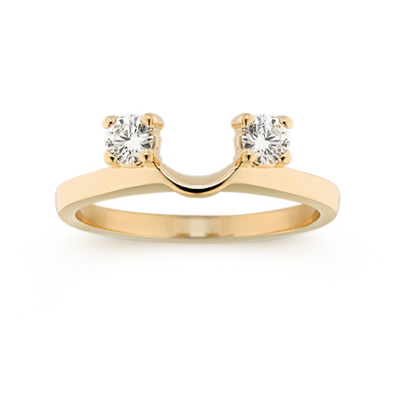 Round Diamond Solitaire Engagement Ring Wrap in Yellow Gold