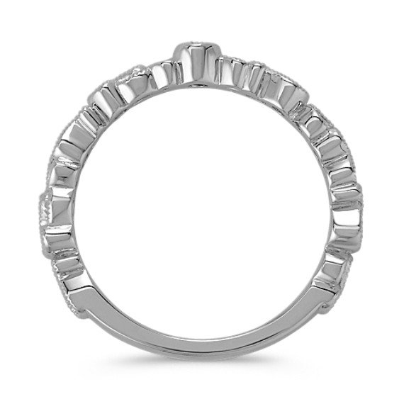 Round Diamond Sterling Silver Stackable Ring