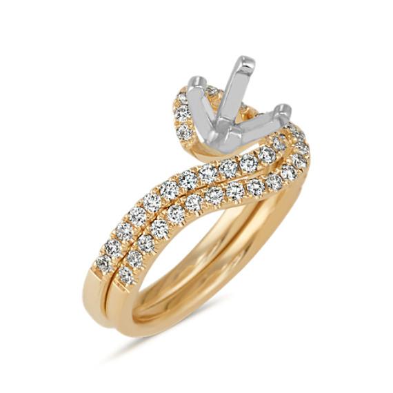 Round Diamond Swirl Wedding Set in 14k Yellow Gold