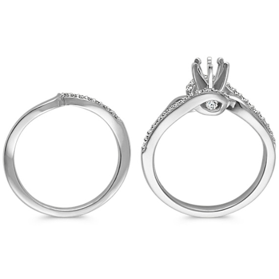 Round Diamond Swirl Wedding Set