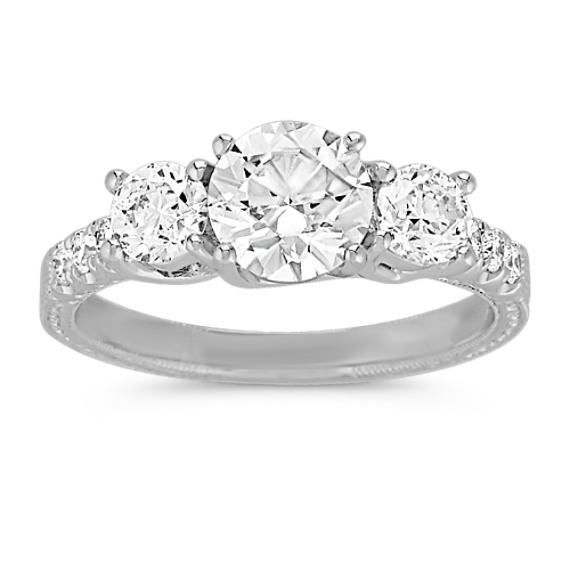 Round Diamond Three-Stone Anniversary Band
