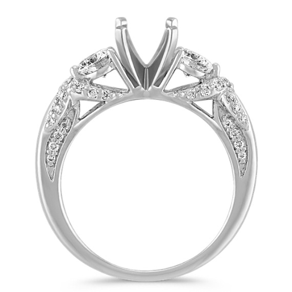 Round Diamond Three-Stone Engagement Ring with Pavé Setting