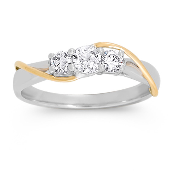 Round Diamond Three-Stone in Two-Tone Gold