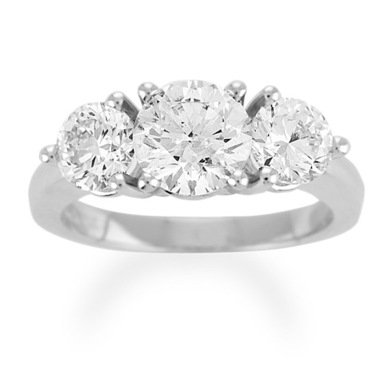 Round Diamond Three-Stone Ring - 3 ct tw