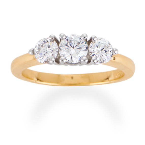 Round Diamond Three-Stone Ring in 14k Yellow Gold