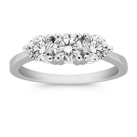 Round Diamond Three-Stone Ring in Platinum