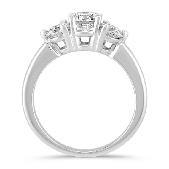 Round Diamond Three Stone Ring in Platinum