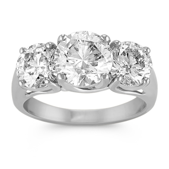 Round Diamond Three-Stone Ring in White Gold