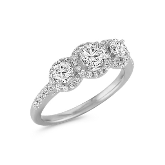 Round Diamond Three-Stone Ring with Pavé Setting