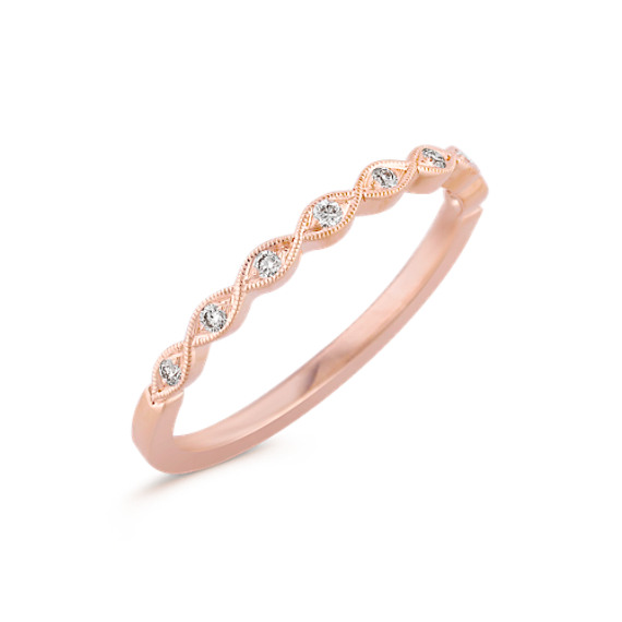 Round Diamond Twist Ring in Rose Gold with Pavé Setting
