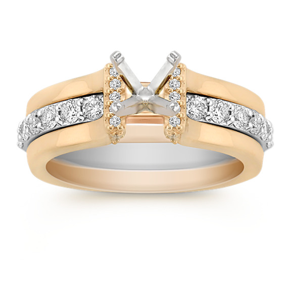 Round Diamond Two-Tone Gold Wedding Set with Pavé Setting