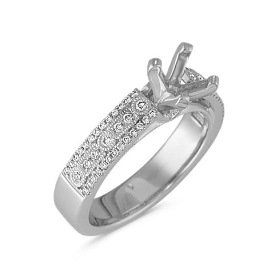 Round Diamond Vintage Engagement Ring in Platinum