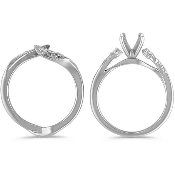 Round Diamond Vintage Wedding Set in Platinum