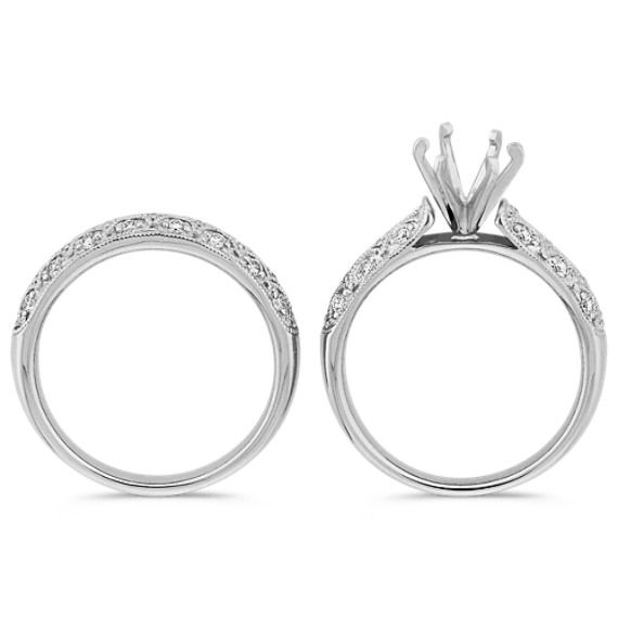 Round Diamond Vintage Wedding Set with Pavé-Setting