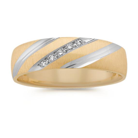 Round Diamond Wedding Band in Two-Tone Gold