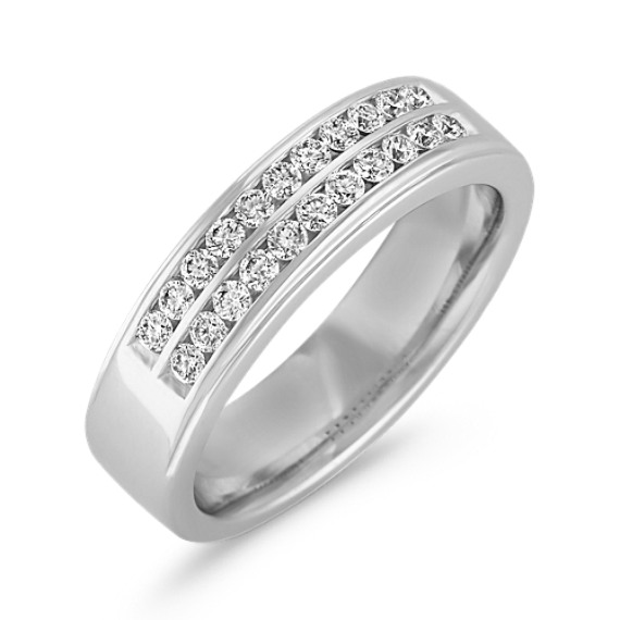 Round Diamond Wedding Band with Channel Setting for Him