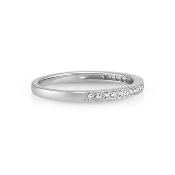 Round Diamond Wedding Band with Milgrain Detailing in Platinum