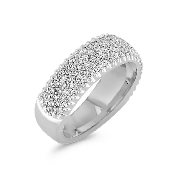 Round Diamond Wedding Band with Pavé Setting