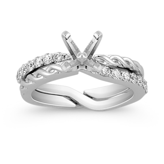 Round Diamond Wedding Set for Her