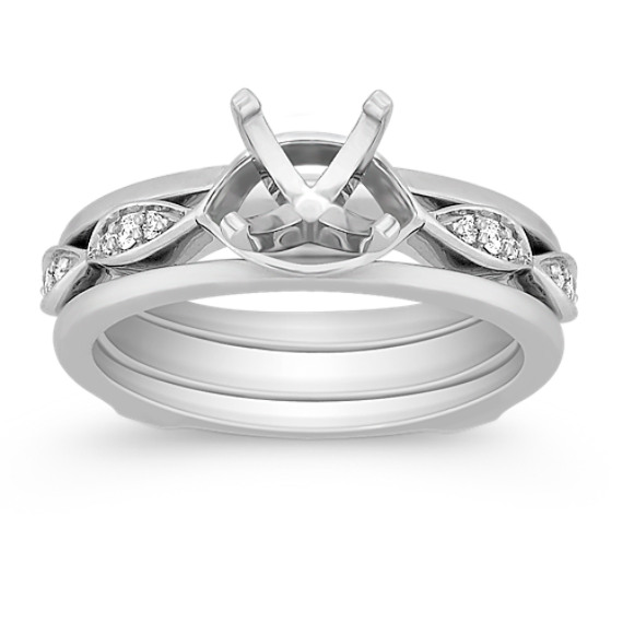 Round Diamond Wedding Set for Her