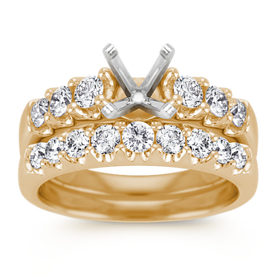Round Diamond Wedding Set in 14k Yellow Gold