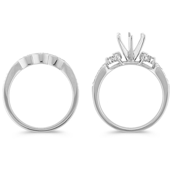 Round Diamond Wedding Set with Draped Contour Band