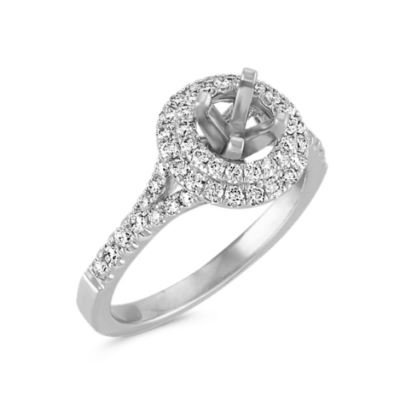 Round Double Halo Engagement Ring with Pavé-Set Diamonds