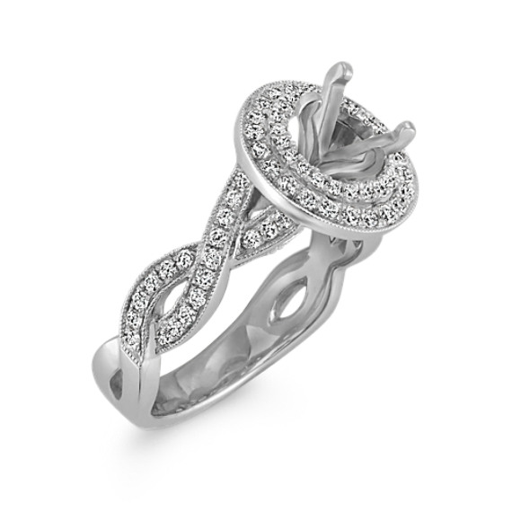 Round Double Halo Vintage Platinum Engagement Ring with Pavé-Setting