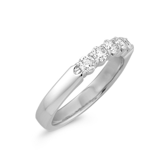 Round Five Diamond Wedding Band in Platinum