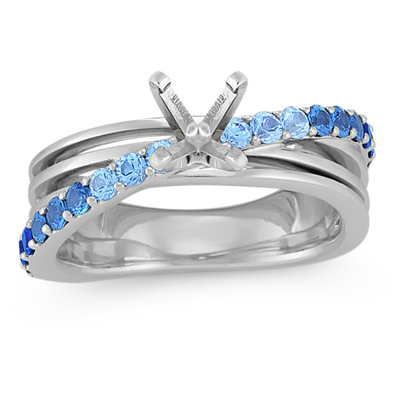 Round Gradient-Colored Sapphire Ring
