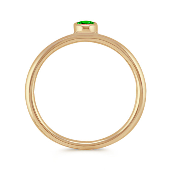 Round Green Chrome Tourmaline Stackable Ring in 14k Yellow Gold