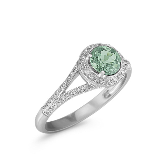 Round Green Sapphire and Diamond Ring in 14k White Gold
