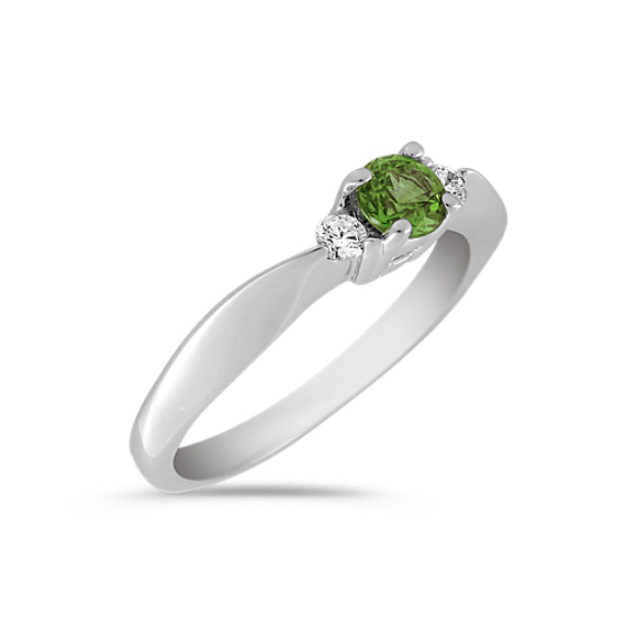 Round Green Sapphire and Diamond Three-Stone Ring