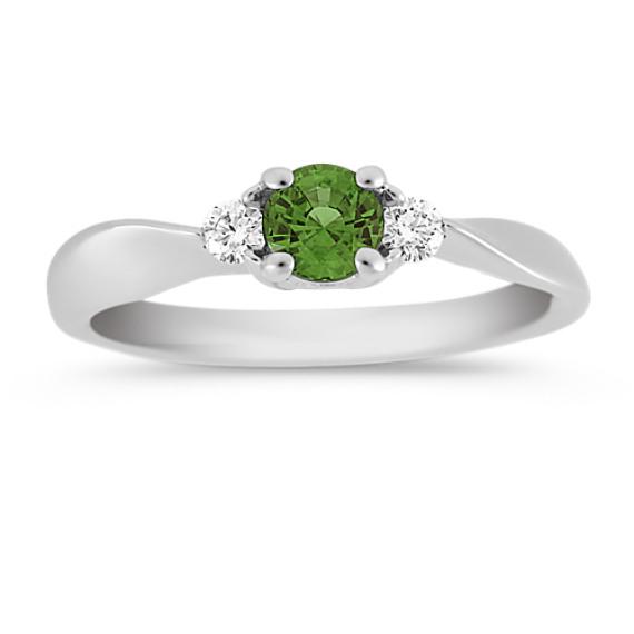 Round Green Sapphire and Diamond Three-Stone Ring