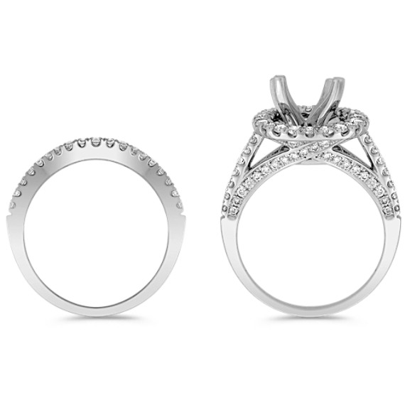 Round Halo Diamond Wedding Set with Pavé Setting