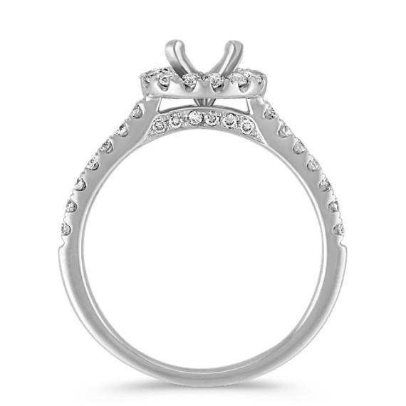 Round Halo Engagement Ring with Round Pavé-Set Diamonds