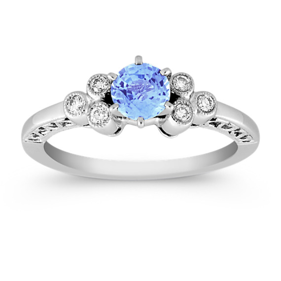 Round Ice Blue Sapphire and Bezel Set Diamond Ring