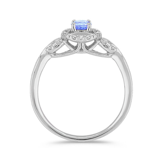 Round Ice Blue Sapphire and Diamond Ring