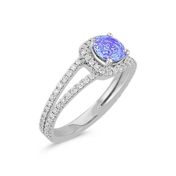 Round Ice Blue Sapphire and Diamond Ring
