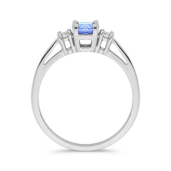 Round Ice Blue Sapphire and Diamond Three-Stone Ring