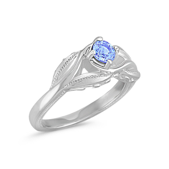 Round Ice Blue Sapphire in Sterling Silver Ring