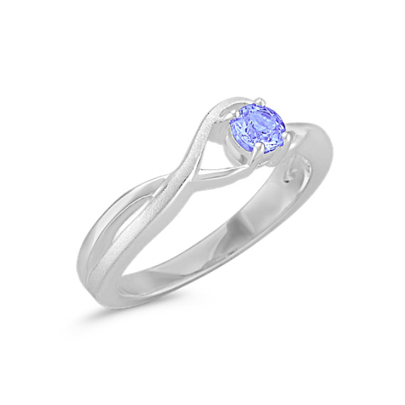 Round Ice Blue Sapphire Ring in Sterling Silver